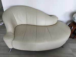 Cream Real Leather Chaise Lounge Sydney City Inner Sydney Preview