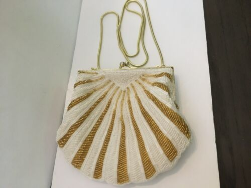 LADIES WHITE & GOLD BEADED EVENING BAG WITH SHOULDER STRAP