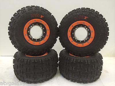 Hiper Tech 3 Beadlock Wheels Maxxis Razr XC Tires Front/Rear Kit Honda TRX 400EX