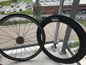 Shimano WH-R500 rear wheel and HED carbon fairing wheel