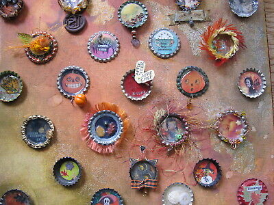 Folk Art Halloween Fall Bottle Cap Miniature