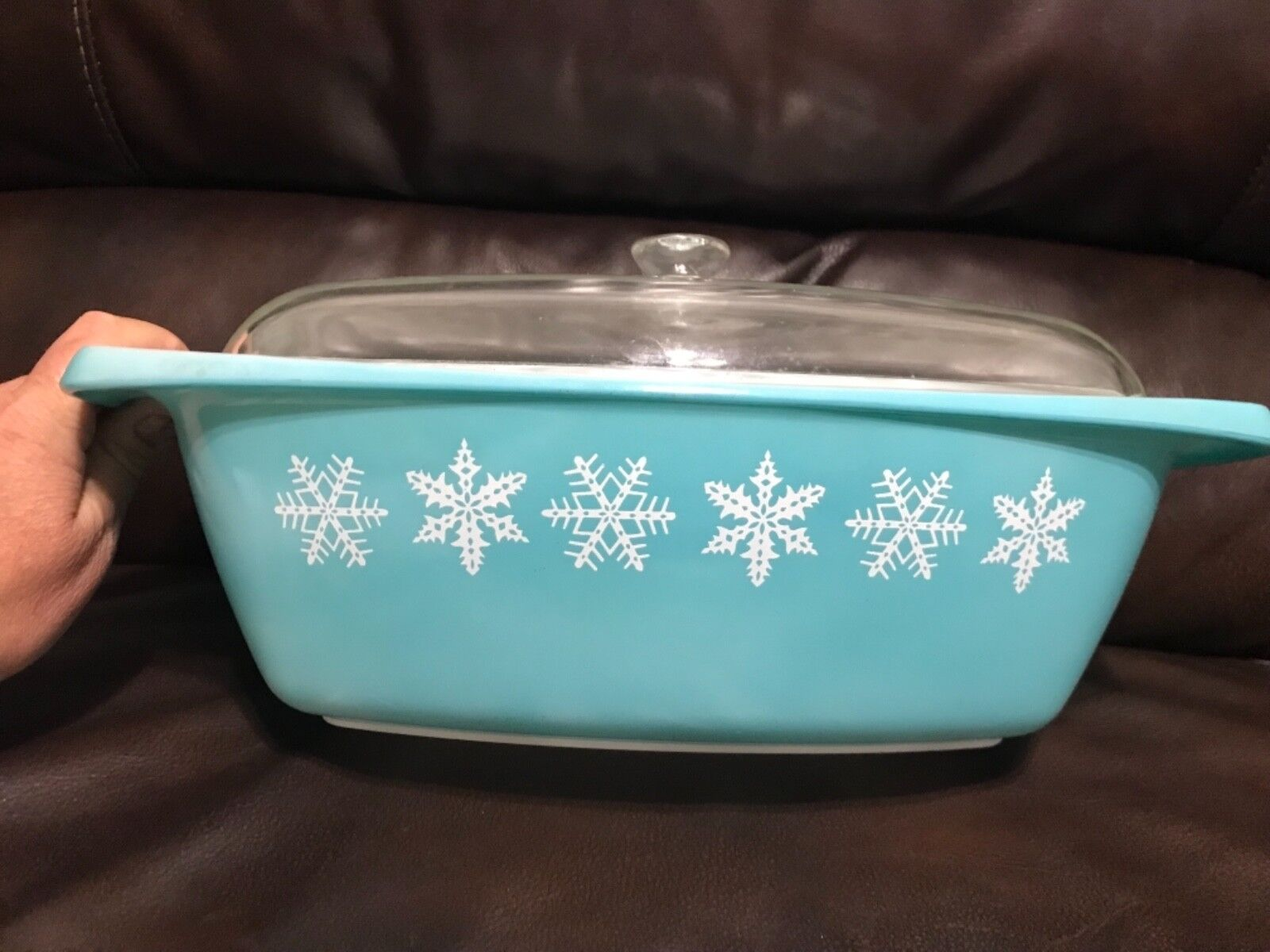 Rare HTF Vintage Pyrex 038 Oblong Snowflake Turquoise with the correct Lid