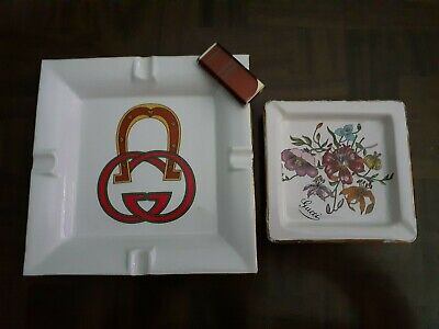 Gorgeous authentic vintage Gucci lighter and 2 porcelain ashtrays/jewelry trays
