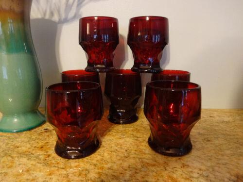 VINTAGE SET OF 7  RUBY RED GEORGIAN WATER GOBLETS TUMBLER GLASSES