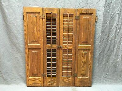 Oak Shutter (Antique Pair Oak Bi-fold Window Louvered Paneled Shutters 34x29 Interior 275-18E )