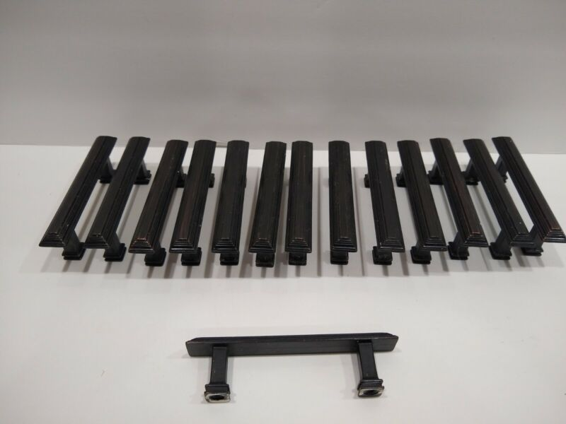 used Lot 14 Black Bronze Square Bar Pull Cabinet Drawer Handles knobs