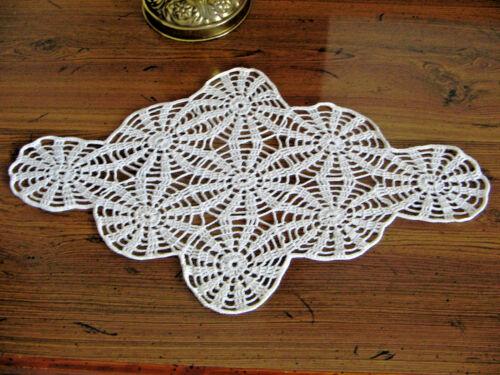 """Used Hand Crocheted Doily Motif Runner 16x9"""" White c"""