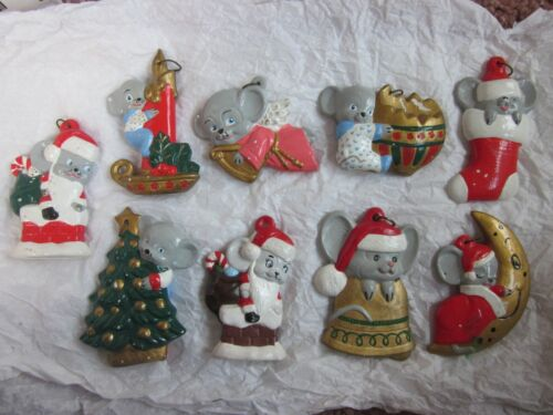 Vintage 9 Christmas Tree Ceramic Hand Painted Mice Ornaments Alberta Mold