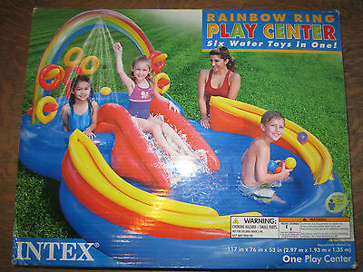 Rainbow ring play center swimming pool outdoor fun summer squirt castle slide