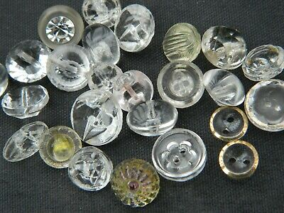 16 Vintage white plastic rhinestone buttons solitaire  simple