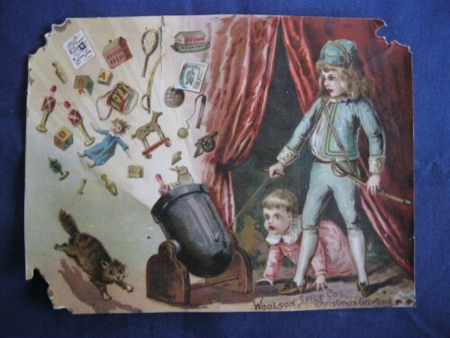 Victorian Trade Card Lion Coffee CHRISTMAS Toys Spill Children SCARED Cat G