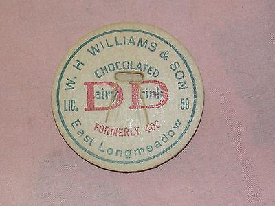 VINTAGE W H WILLIAMS & SON EAST LONGMEADOW DAIRY DRINK MILK BOTTLE CAP