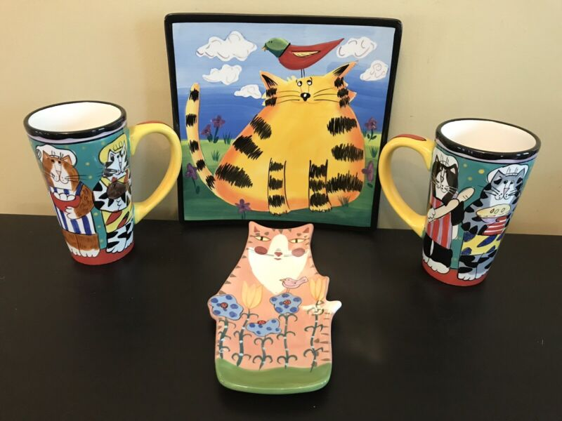 Lot Of Handpainted Cat Ceramics Plate Mugs Spoon Rest Catzilla Naylor Bloom