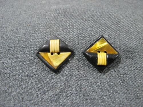 2 Antique art deco creamy & black celluloid buttons   5c
