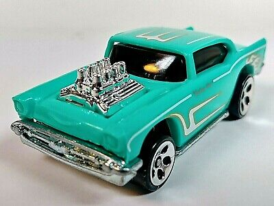 2000 Hot Wheels Mainline #105 1957 '57 Chevy Bel Air Turquoise 5-DOT 1/64 Loose