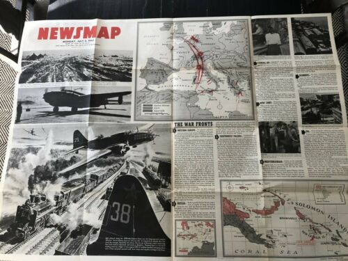 Large WWII Vintage Newsmap - July 5, 1943