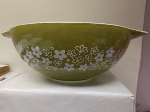 Vintage Pyrex Crazy Daisy Spring Green White #444 Cinderella Bowl