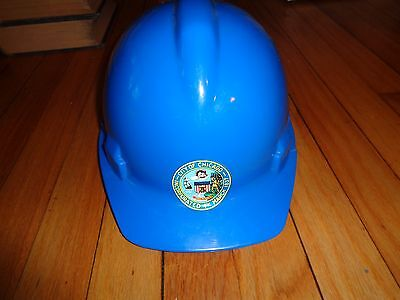 Vintage City Of Chicago Hardhat Hard Hat Blue Plastic