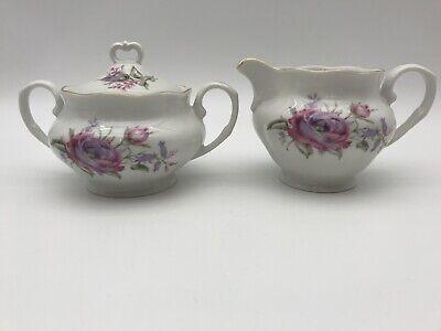 Favolina Sugar Bowl & Creamer Flowers with Gold Trim  Vintage Made in Poland Gold Trim Sugar Bowl
