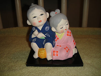 Superb Chinese Or Japanese Chalkware Figure Of Boy & - Chinese Or Japanese Girls