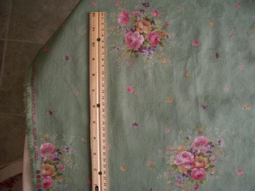 Gorgeous Yuwa Medium Rose Bouquets on Jade Cotton Damask Fabric HTF 1 Yd.