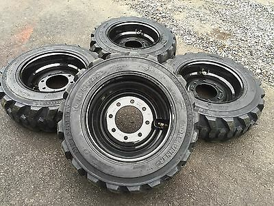 4 New 10-16.5 Skid Steer Tires On Black Wheelsrims - 10 Ply- For Bobcat More