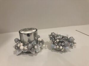 Candle holders & candles- 4 large, 8 small