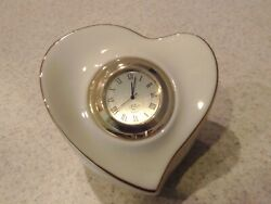 Lenox heart shaped porcelain desk clock with extra battery in mint condition