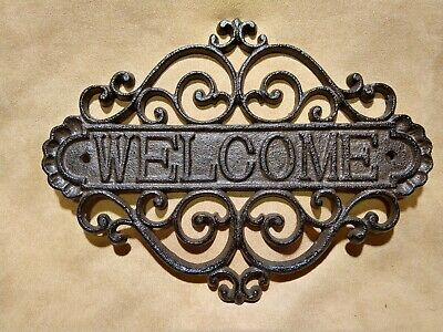 Iron Finish Entry - WELCOME PLAQUE cast iron FILIGREE rust finish HOME GARDEN ENTRY DOOR DECOR