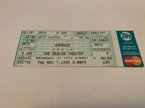 RARE GARBAGE UNUSED CONCERT TICKET BEACON THEATER NYC 11/7/1996