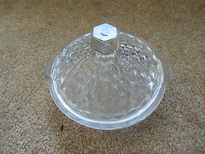 2 PIECE bowl and lid sugar or candy dish clear glass handles antique vintage 2 Piece Sugar Bowl