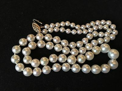 14K yellow Gold Vintage Cultured Pearl Graduated Strand Necklace~hand knotted