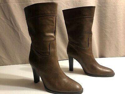 J Crew Brown Genuine Leather Boots Size 8 1/2 Made In Spain