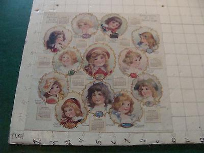Vintage original 1913 BIRTHDAY JEWEL CALENDAR - folded in middle, J V SLOAN