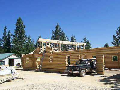 "1592 sq. ft. 10 "" swedish coped log home package with  26'x30'garage"