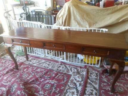 LARGE TIMBER SOFA TABLE /HALL OR DISPLAY STAND WITH DRAWERS G.C.
