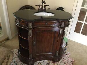Elegant Bathroom Vanity& Granite Countertop,Bronze Faucet