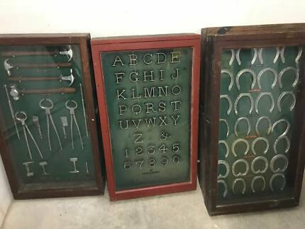 Farrier Chromed Tools & Brands & Racing Shoes in Display Cases
