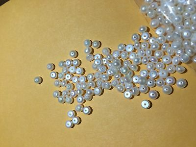 450 + Luster Button Pearls 4 MM   Sweet Lot Enough for 3 Strands 18 Inches Long!