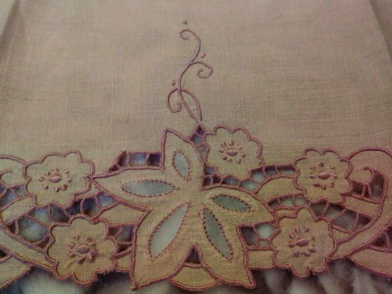 """Gorgeous Dusty Rose Madeira Shadow Work & Embroidered Linen Towel 18x13.5"""""""