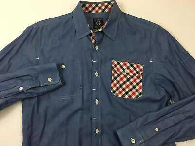 GOODALE Mens NEW Blue Chambray Button Front Long Sleeve Plaid Trim Shirt Size M Long Sleeve Chambray Plaid Shirt
