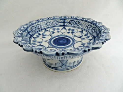 Chinese Blue Porcelain Footed Serving Dish Tazza