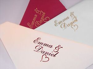 100 X 40 cm Personalised Luxury 3 Ply Wedding  Napkins