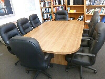 Conference Table And Chairs. Table 5 X 7 8 Leather High Back Chairs