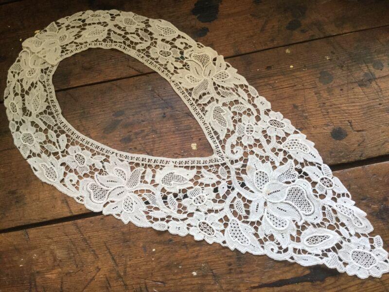 Antique Vintage Victorian Edwardian Large Lace Collar Off White Floral Motif