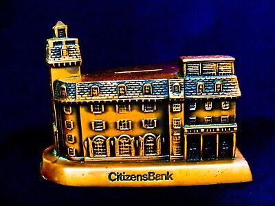 VINTAGE COPPER COIN BANK 1980 HISTORIC BUILDING CITIZENS PARK RIDGE ILLINOIS
