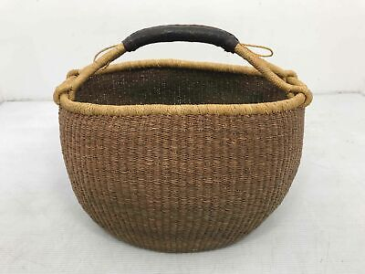 Hand Crafted Woven Natural Straw Bolga Leather Handle Storage Display Basket
