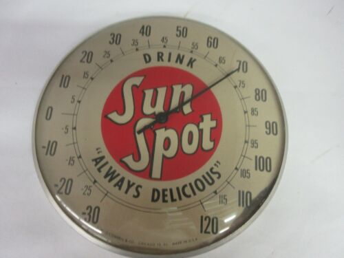 "VINTAGE 10"" SUN SPOT SODA ADVERTISING THERMOMETER GLASS COVER  M-107"