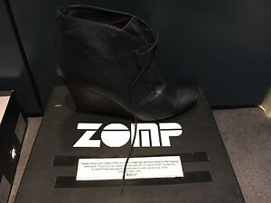 Black soft leather wedge boots size 41/10 Milsons Point North Sydney Area Preview