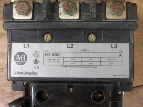 Allen Bradley 509-dod Size 3 Reversing Starter Used Csq